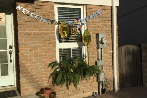 Our home decorated with balloons
