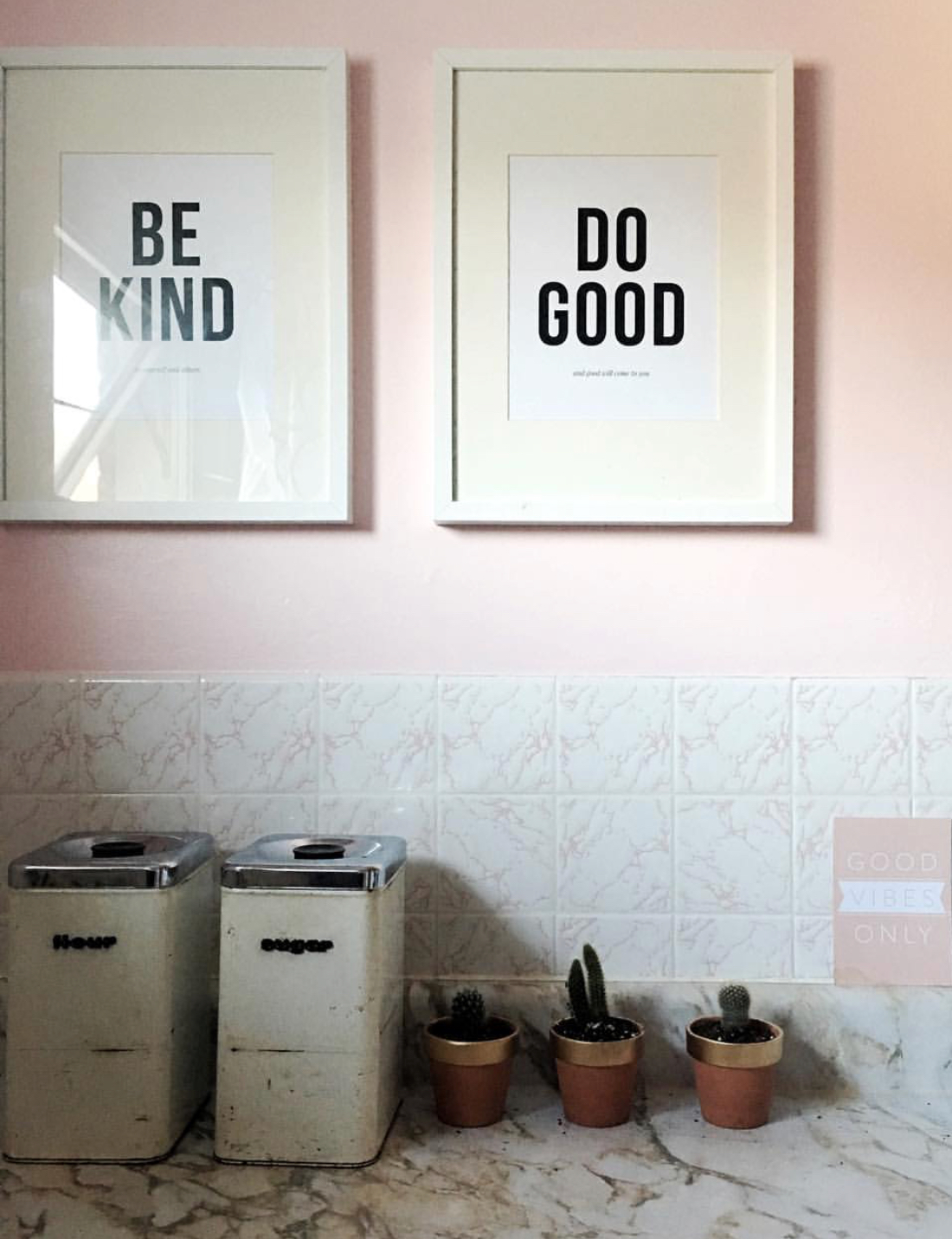 pictures on the wall with positive message